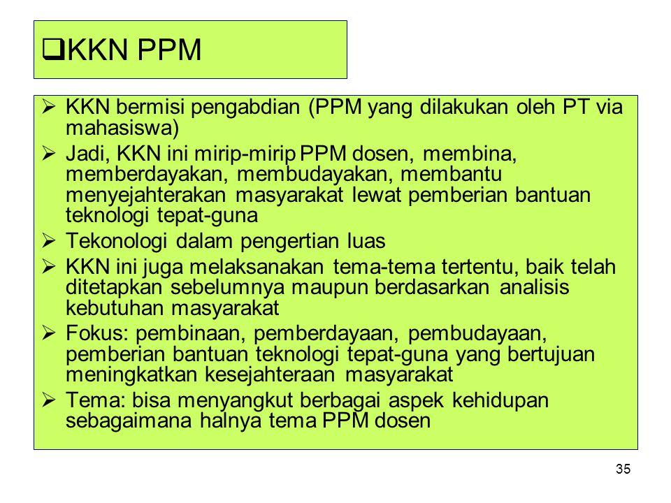 35  KKN PPM  KKN bermisi pengabdian (PPM yang dilakukan oleh PT via mahasiswa)  Jadi, KKN ini mirip-mirip PPM dosen, membina, memberdayakan, membud