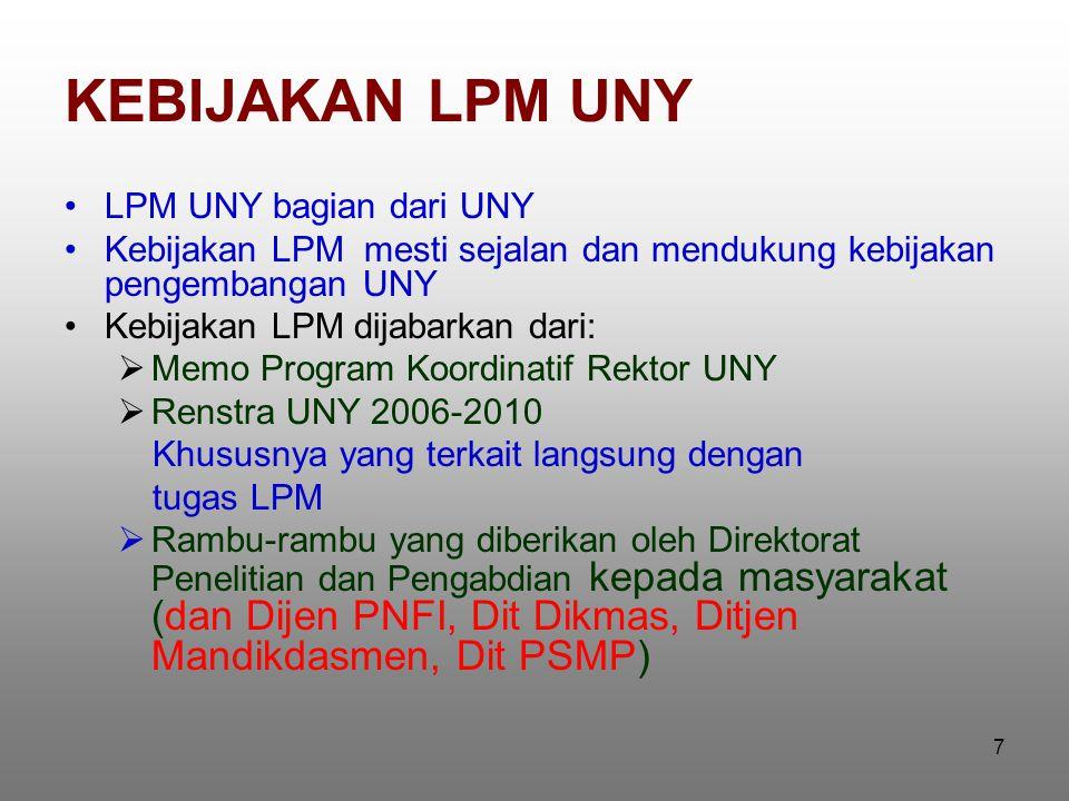 7 KEBIJAKAN LPM UNY LPM UNY bagian dari UNY Kebijakan LPM mesti sejalan dan mendukung kebijakan pengembangan UNY Kebijakan LPM dijabarkan dari:  Memo