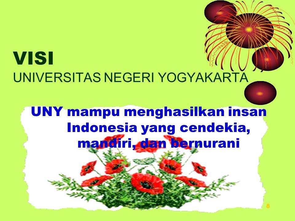 8 VISI UNIVERSITAS NEGERI YOGYAKARTA UNY mampu menghasilkan insan Indonesia yang cendekia, mandiri, dan bernurani