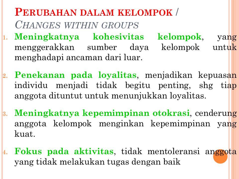 P ERUBAHAN DALAM KELOMPOK / C HANGES WITHIN GROUPS 1.