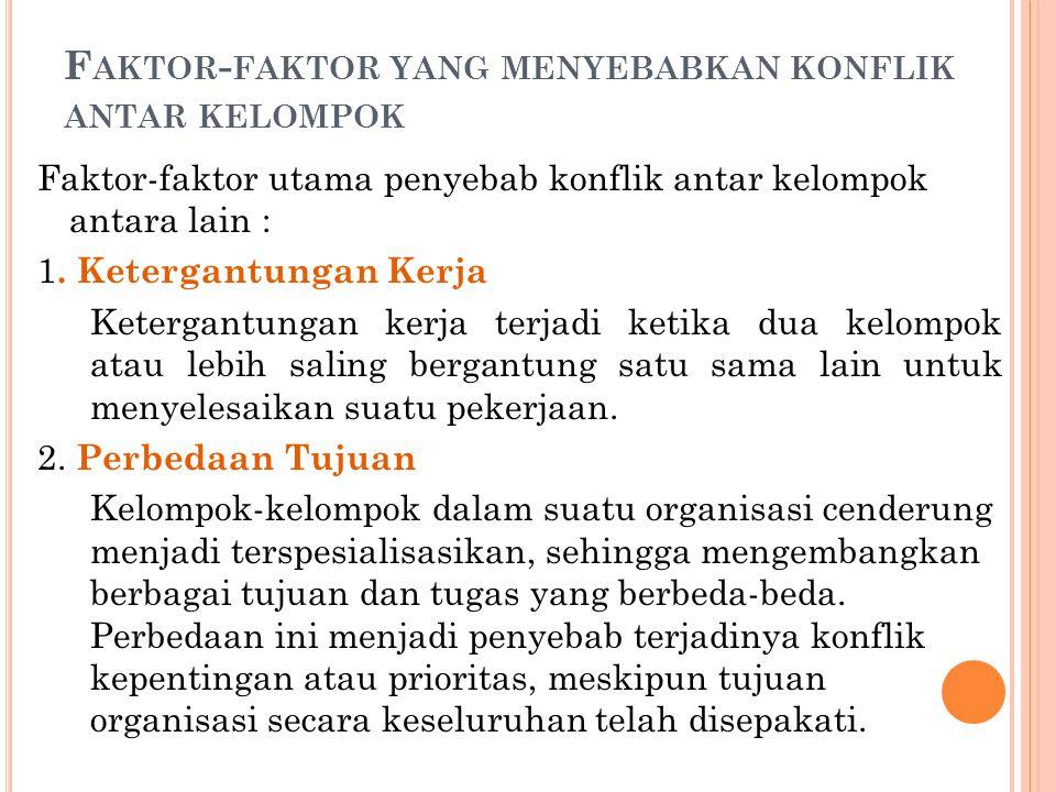 F AKTOR - FAKTOR YANG MENYEBABKAN KONFLIK ANTAR KELOMPOK Faktor-faktor utama penyebab konflik antar kelompok antara lain : 1.