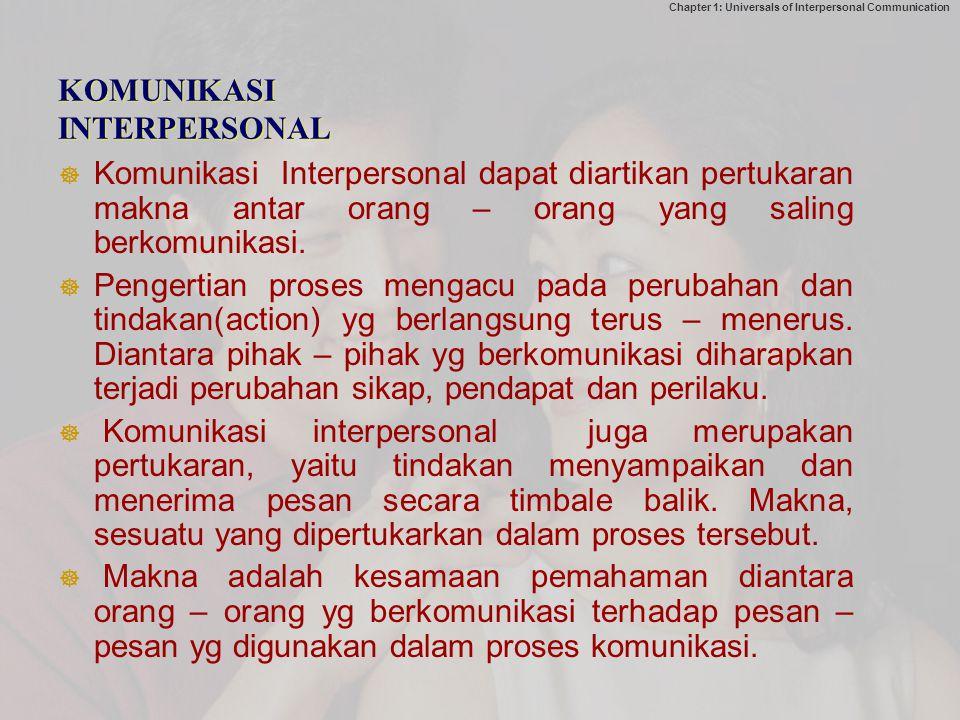 Chapter 1: Universals of Interpersonal Communication KOMUNIKASI INTERPERSONAL  Komunikasi Interpersonal dapat diartikan pertukaran makna antar orang