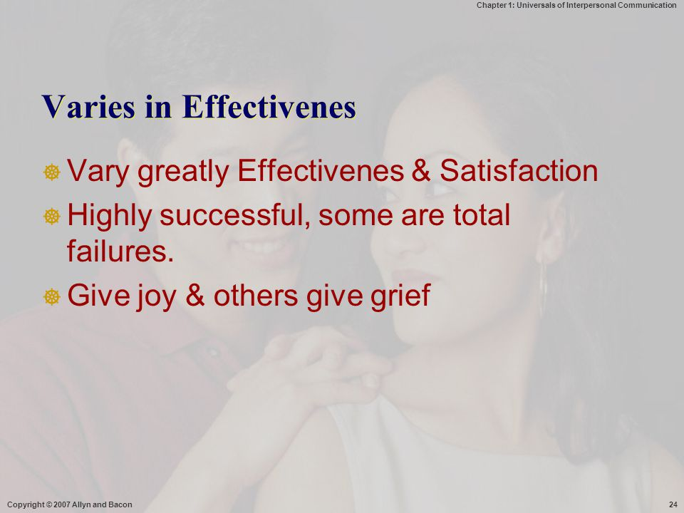 Chapter 1: Universals of Interpersonal Communication Copyright © 2007 Allyn and Bacon24 Varies in Effectivenes  Vary greatly Effectivenes & Satisfaction  Highly successful, some are total failures.