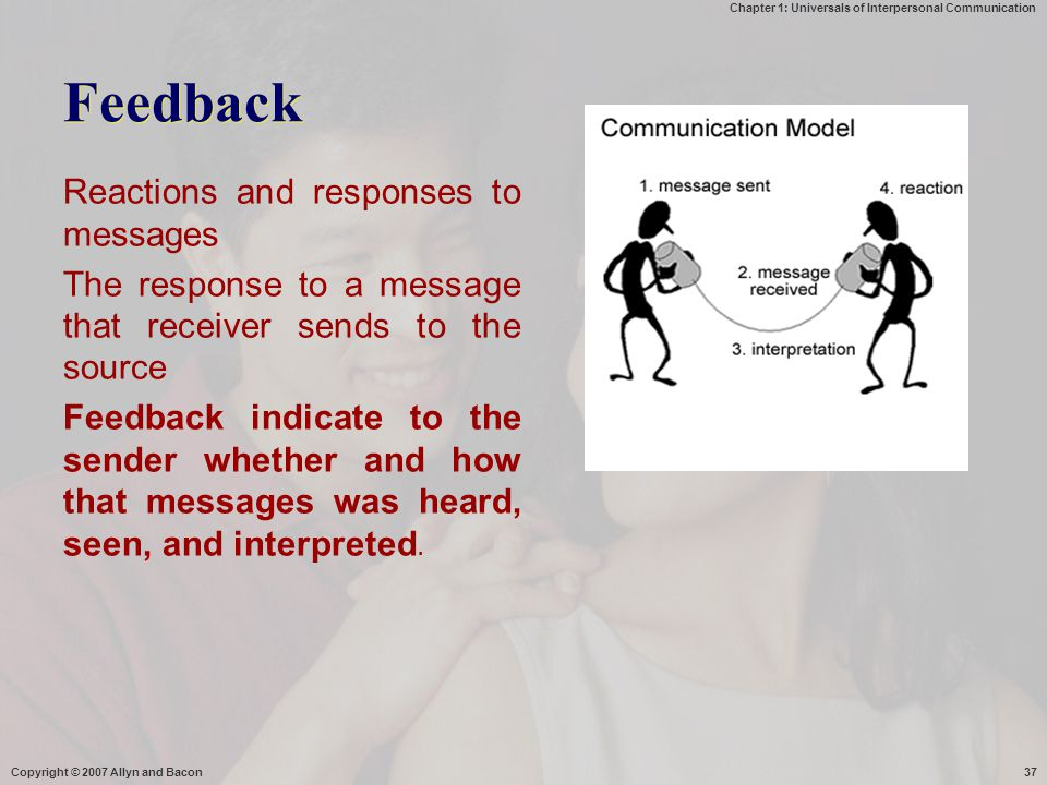 Chapter 1: Universals of Interpersonal Communication Feedback Reactions and responses to messages The response to a message that receiver sends to the source Feedback indicate to the sender whether and how that messages was heard, seen, and interpreted.