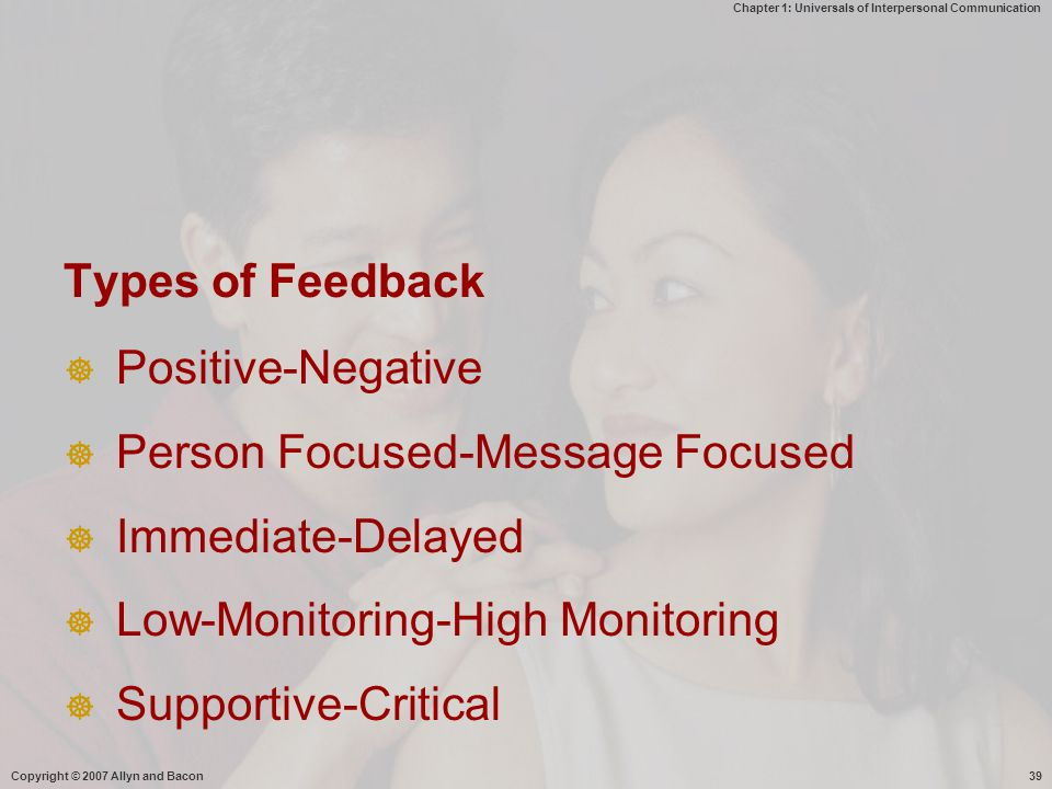 Chapter 1: Universals of Interpersonal Communication Copyright © 2007 Allyn and Bacon39 Types of Feedback  Positive-Negative  Person Focused-Message Focused  Immediate-Delayed  Low-Monitoring-High Monitoring  Supportive-Critical