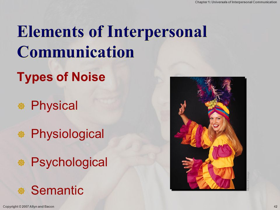 Chapter 1: Universals of Interpersonal Communication Copyright © 2007 Allyn and Bacon42 Elements of Interpersonal Communication Types of Noise  Physi