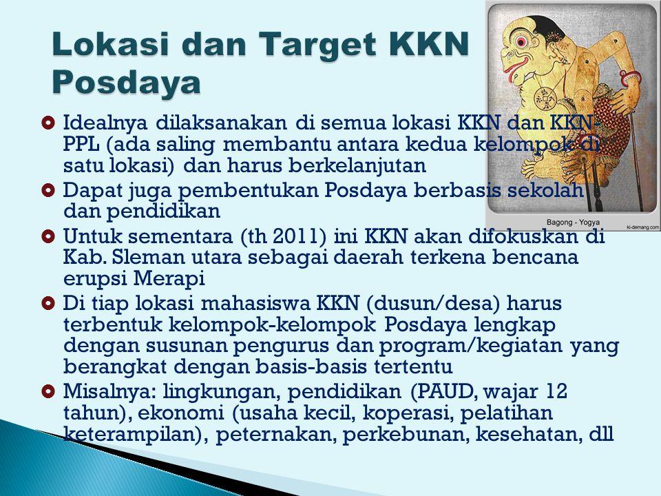  Idealnya dilaksanakan di semua lokasi KKN dan KKN- PPL (ada saling membantu antara kedua kelompok di satu lokasi) dan harus berkelanjutan  Dapat juga pembentukan Posdaya berbasis sekolah dan pendidikan  Untuk sementara (th 2011) ini KKN akan difokuskan di Kab.