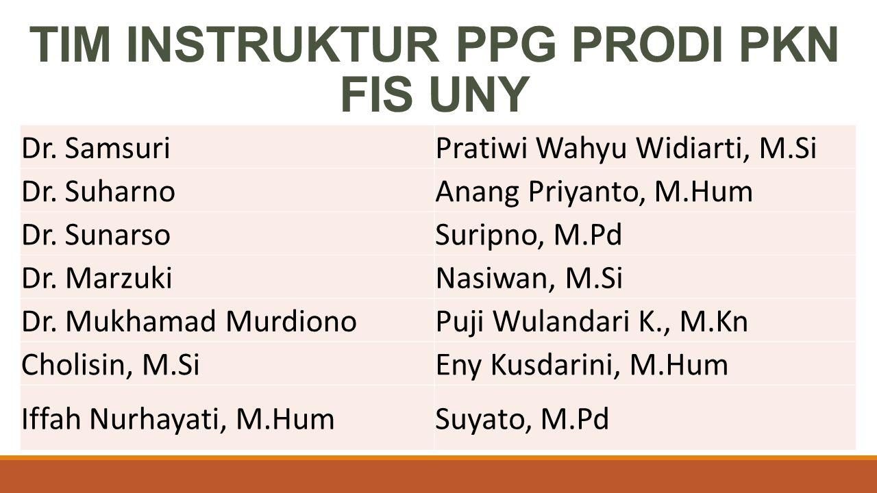 TIM INSTRUKTUR PPG PRODI PKN FIS UNY Dr. SamsuriPratiwi Wahyu Widiarti, M.Si Dr. SuharnoAnang Priyanto, M.Hum Dr. SunarsoSuripno, M.Pd Dr. MarzukiNasi