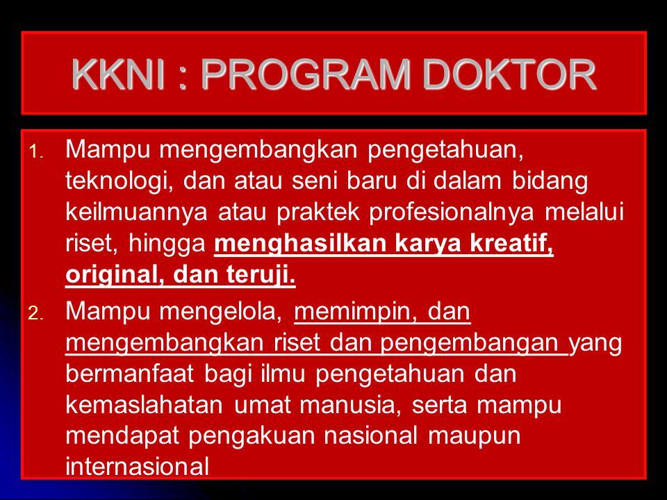 KKNI : PROGRAM DOKTOR 1. 1. Mampu mengembangkan pengetahuan, teknologi, dan atau seni baru di dalam bidang keilmuannya atau praktek profesionalnya mel