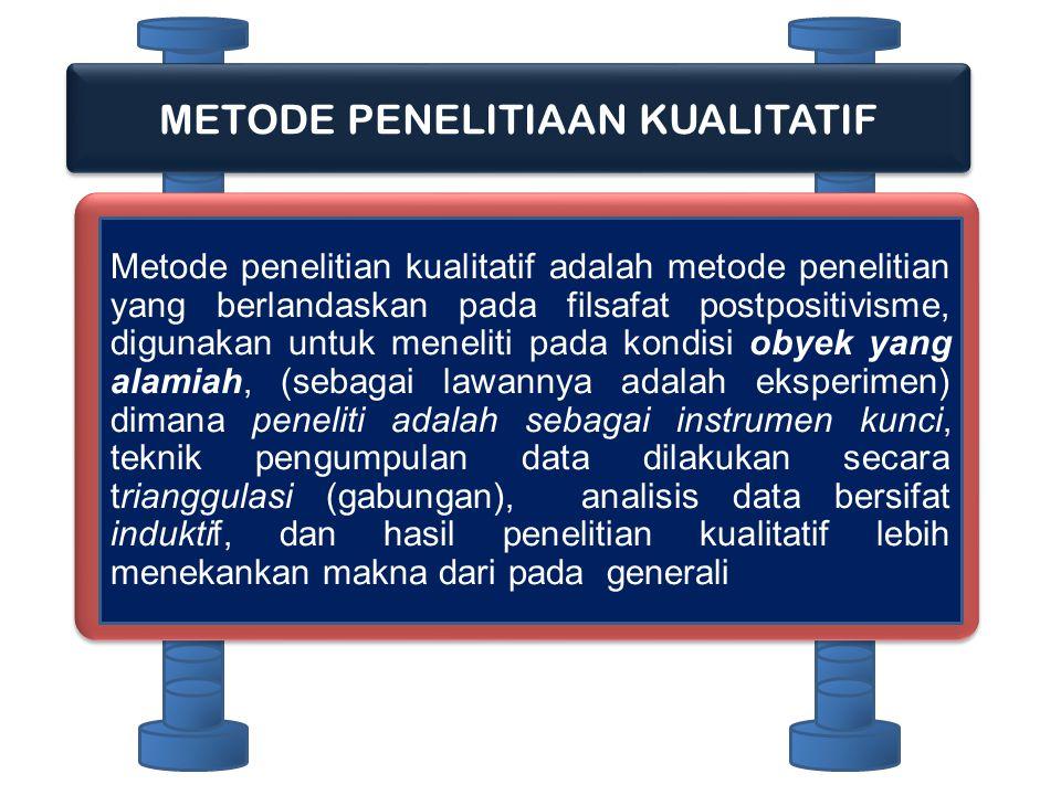 METODE PENELITIAAN KUALITATIF Metode penelitian kualitatif adalah metode penelitian yang berlandaskan pada filsafat postpositivisme, digunakan untuk m