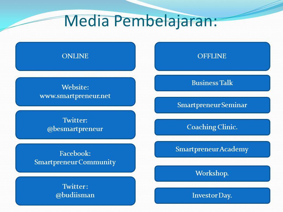 Media Pembelajaran: ONLINEOFFLINE Website: www.smartpreneur.net Business Talk Twitter: @besmartpreneur Smartpreneur Seminar Facebook: Smartpreneur Com