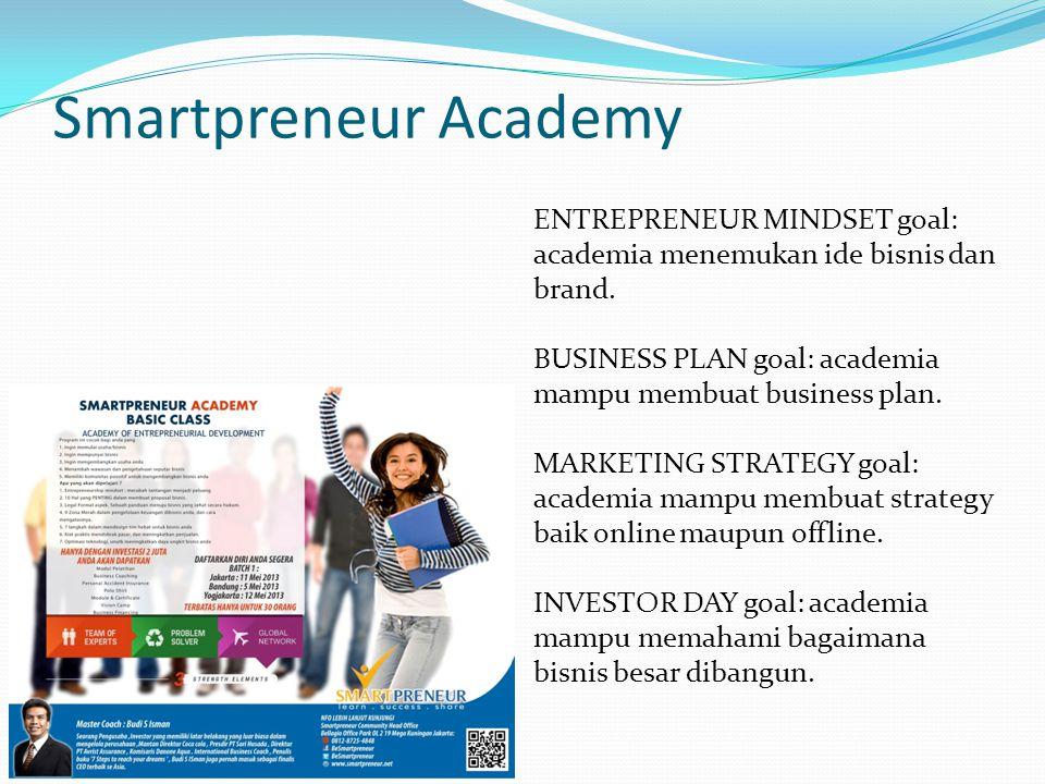 Smartpreneur Academy ENTREPRENEUR MINDSET goal: academia menemukan ide bisnis dan brand. BUSINESS PLAN goal: academia mampu membuat business plan. MAR