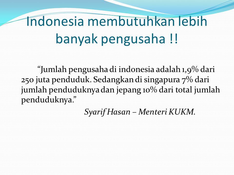 """""""Jumlah pengusaha di indonesia adalah 1,9% dari 250 juta penduduk. Sedangkan di singapura 7% dari jumlah penduduknya dan jepang 10% dari total jumlah"""