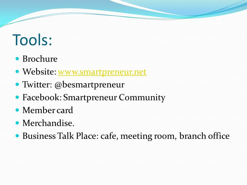 Tools: Brochure Website: www.smartpreneur.netwww.smartpreneur.net Twitter: @besmartpreneur Facebook: Smartpreneur Community Member card Merchandise. B