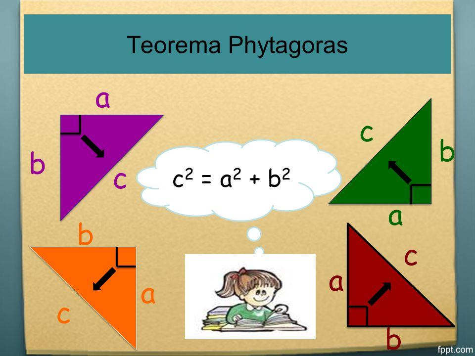 Prinsip Teorema Phytagoras Teorema phytagoras merupakan teorema yang berhubungan dengan segitiga siku-siku Hipotenusa Sisi AC yang terletak di depan s