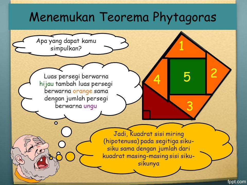 Menemukan Teorema Phytagoras 1 Berilah angka pada tiap potongan dan kemudian guntinglah persegi tersebut seperti pada gambar lalu tempelkan pada perse