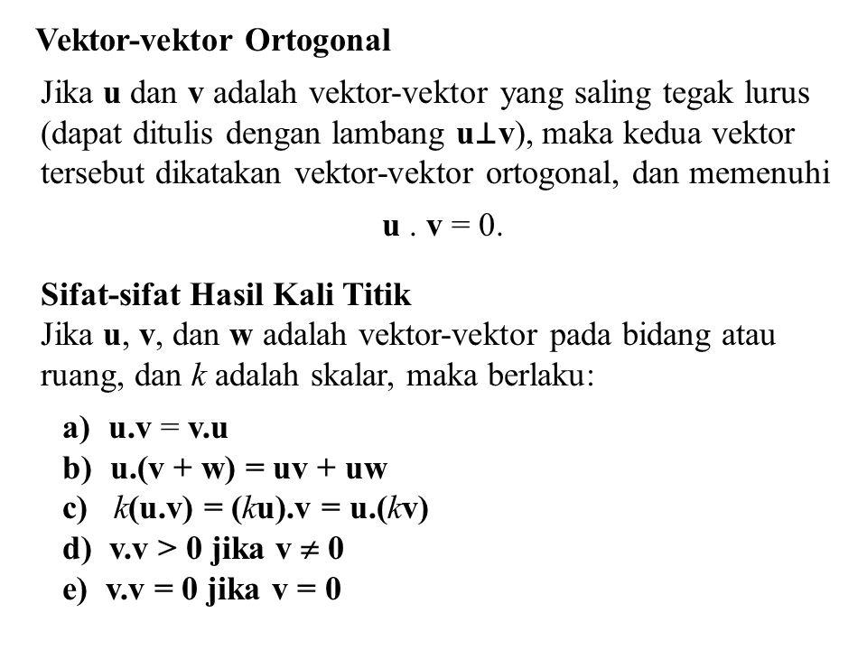 P 1 (2, 2, 0) P 3 (0, 4, 3) P 2 (–1, 0, 2) x z y Contoh 5.11 Tentukan luas segitiga yang dibatasi oleh titik P 1 (2, 2, 0), P 2 (–1, 0, 2), dan P 3 (0, 4, 3) Penyelesaian = (–10, 5, –10) Luas segitiga = ½ (15) = 15/2