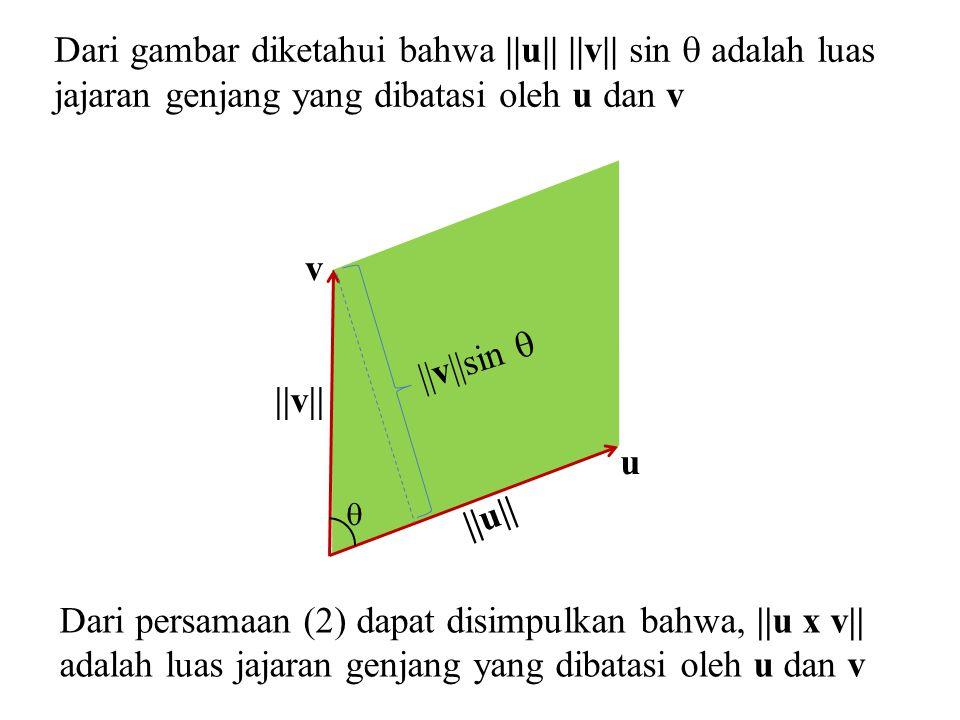  ||v||sin  ||v|| ||u|| v u Dari gambar diketahui bahwa ||u|| ||v|| sin  adalah luas jajaran genjang yang dibatasi oleh u dan v Dari persamaan (2) d