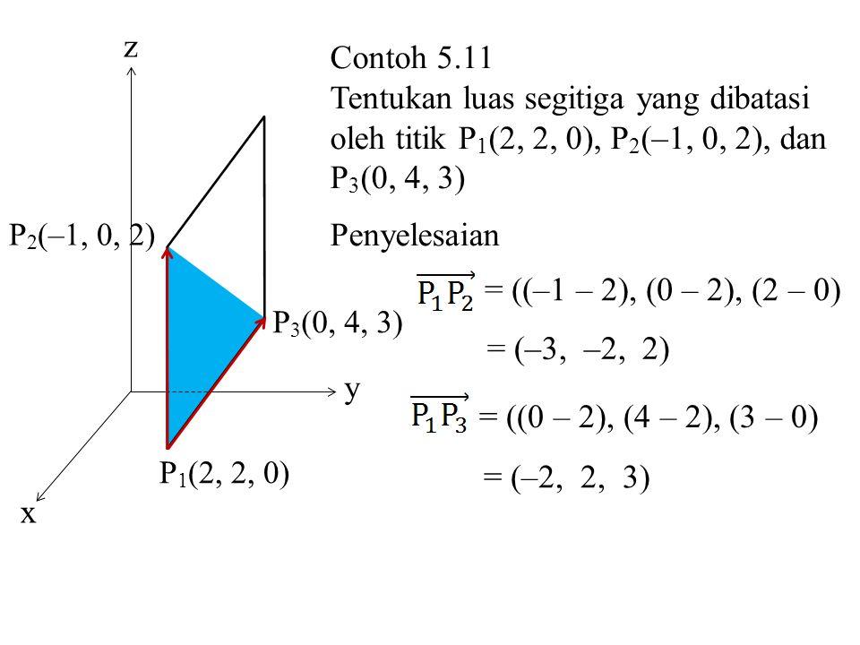 P 1 (2, 2, 0) P 3 (0, 4, 3) P 2 (–1, 0, 2) x z y Contoh 5.11 Tentukan luas segitiga yang dibatasi oleh titik P 1 (2, 2, 0), P 2 (–1, 0, 2), dan P 3 (0