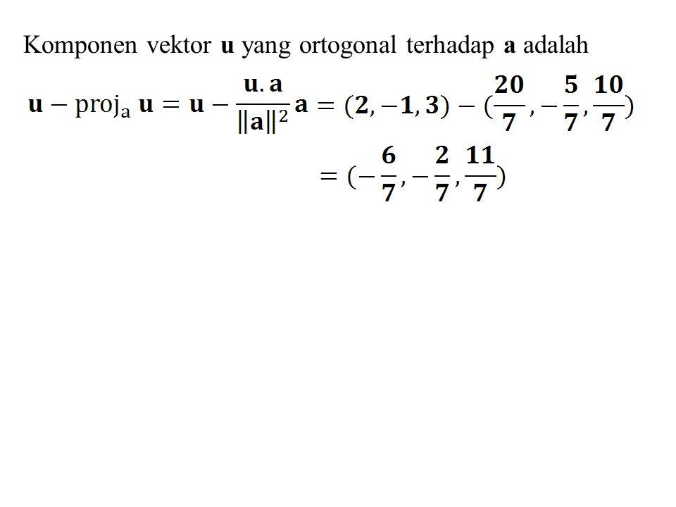 Latihan 1.Tentukan luas jajaran genjang dengan sisi-sisi: a) u = (2, 5), v = (4, 3) b) u = (1, 4), v = (5, 1) 2.