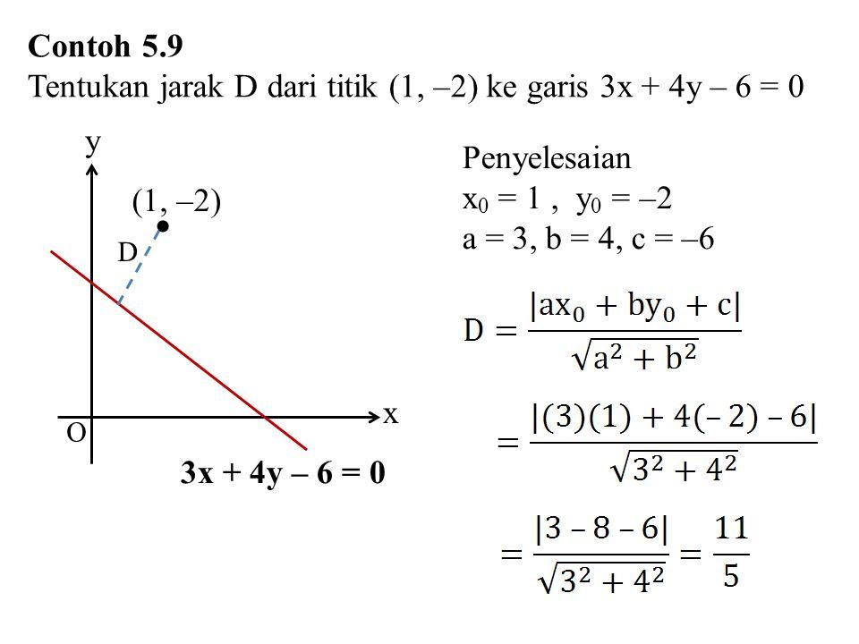 Contoh 5.9 Tentukan jarak D dari titik (1, –2) ke garis 3x + 4y – 6 = 0 (1, –2) x 3x + 4y – 6 = 0  D y O Penyelesaian x 0 = 1, y 0 = –2 a = 3, b = 4,