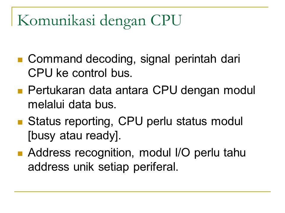 Komunikasi dengan CPU Command decoding, signal perintah dari CPU ke control bus.