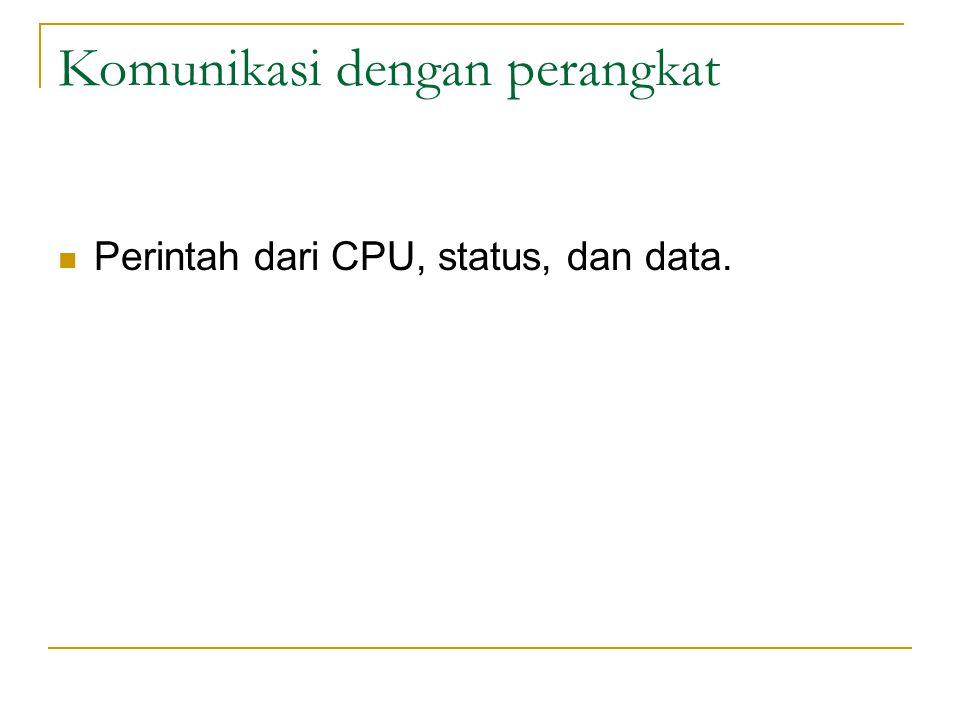 Komunikasi dengan perangkat Perintah dari CPU, status, dan data.