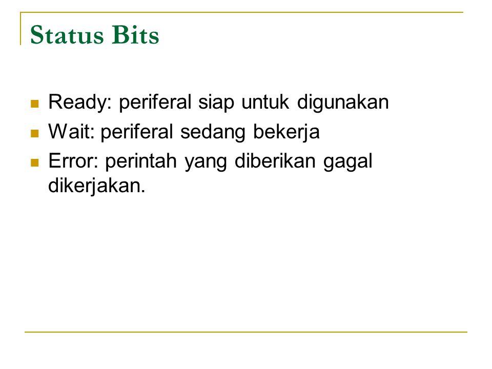 Status Bits Ready: periferal siap untuk digunakan Wait: periferal sedang bekerja Error: perintah yang diberikan gagal dikerjakan.