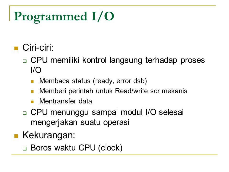 Programmed I/O Ciri-ciri:  CPU memiliki kontrol langsung terhadap proses I/O Membaca status (ready, error dsb) Memberi perintah untuk Read/write scr mekanis Mentransfer data  CPU menunggu sampai modul I/O selesai mengerjakan suatu operasi Kekurangan:  Boros waktu CPU (clock)