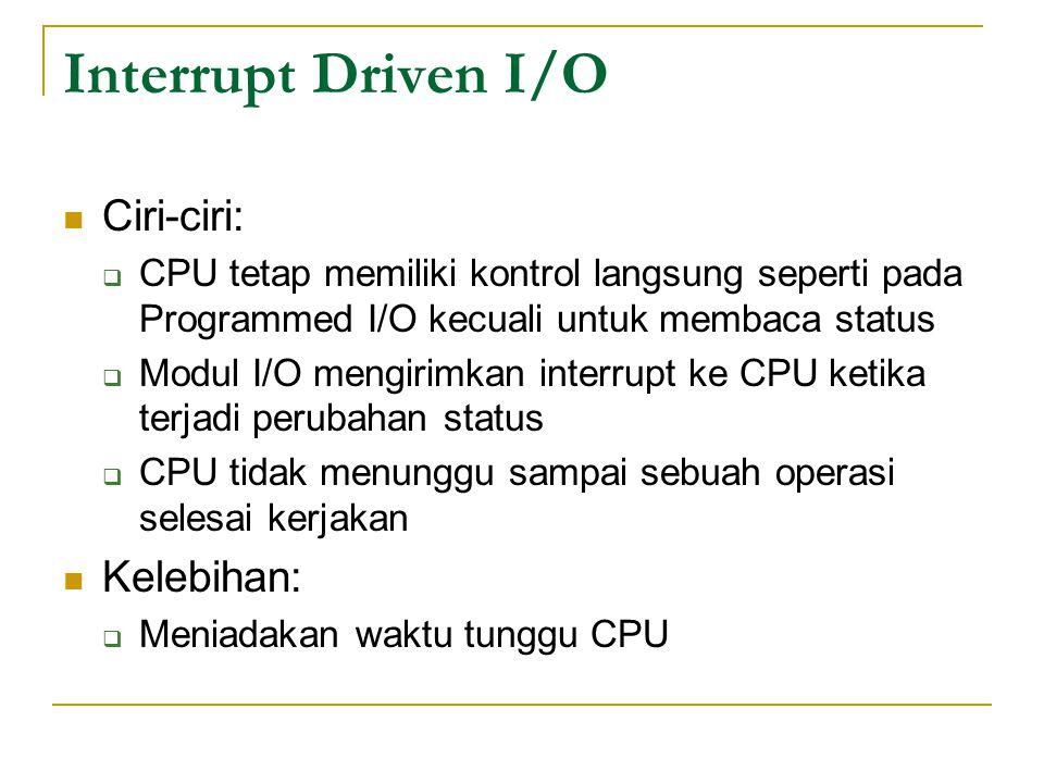 Interrupt Driven I/O Ciri-ciri:  CPU tetap memiliki kontrol langsung seperti pada Programmed I/O kecuali untuk membaca status  Modul I/O mengirimkan interrupt ke CPU ketika terjadi perubahan status  CPU tidak menunggu sampai sebuah operasi selesai kerjakan Kelebihan:  Meniadakan waktu tunggu CPU