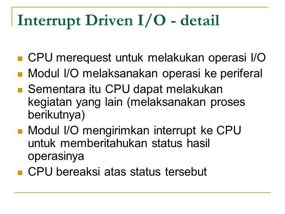 Interrupt Driven I/O - detail CPU merequest untuk melakukan operasi I/O Modul I/O melaksanakan operasi ke periferal Sementara itu CPU dapat melakukan kegiatan yang lain (melaksanakan proses berikutnya) Modul I/O mengirimkan interrupt ke CPU untuk memberitahukan status hasil operasinya CPU bereaksi atas status tersebut