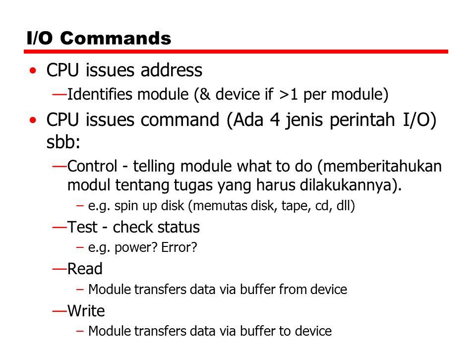 I/O Commands CPU issues address —Identifies module (& device if >1 per module) CPU issues command (Ada 4 jenis perintah I/O) sbb: —Control - telling m