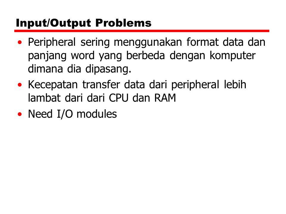 Input/Output Problems Peripheral sering menggunakan format data dan panjang word yang berbeda dengan komputer dimana dia dipasang. Kecepatan transfer