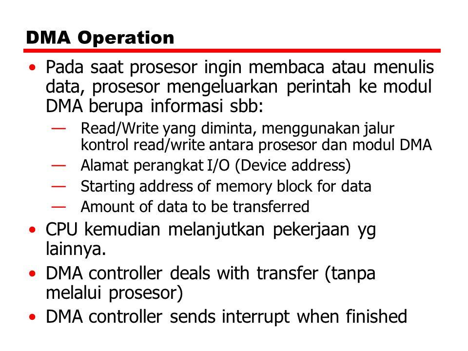 DMA Operation Pada saat prosesor ingin membaca atau menulis data, prosesor mengeluarkan perintah ke modul DMA berupa informasi sbb: —Read/Write yang d