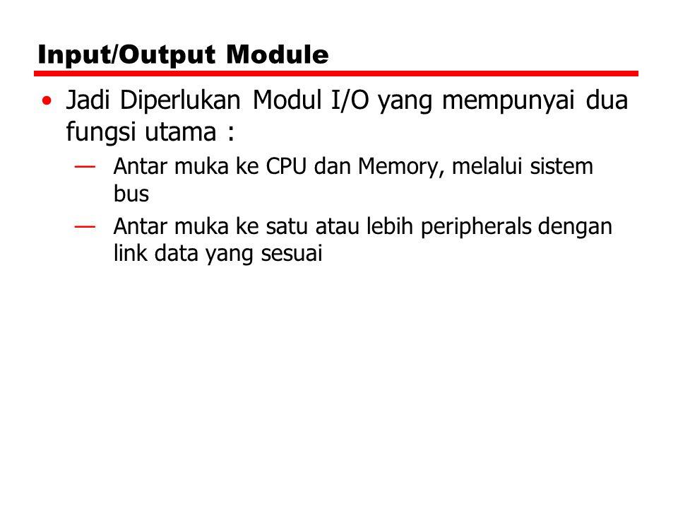 Input/Output Module Jadi Diperlukan Modul I/O yang mempunyai dua fungsi utama : —Antar muka ke CPU dan Memory, melalui sistem bus —Antar muka ke satu