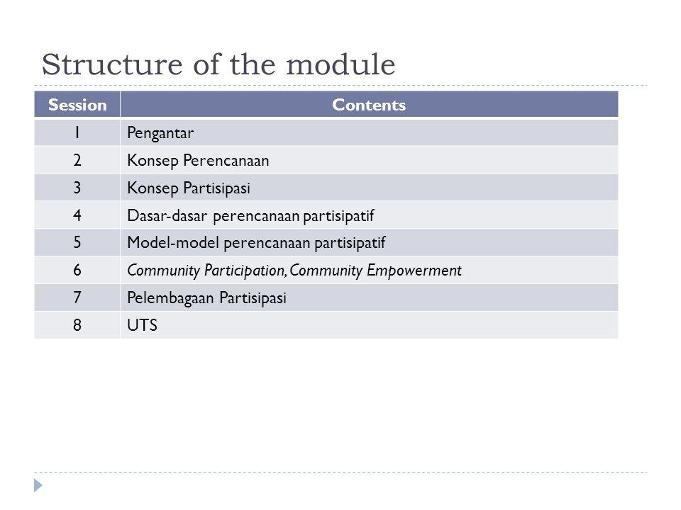 Structure of the module SessionContents 1Pengantar 2Konsep Perencanaan 3Konsep Partisipasi 4Dasar-dasar perencanaan partisipatif 5Model-model perencanaan partisipatif 6Community Participation, Community Empowerment 7Pelembagaan Partisipasi 8UTS