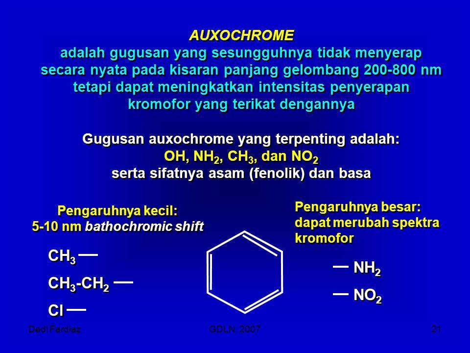 Dedi FardiazGDLN, 200721 AUXOCHROME adalah gugusan yang sesungguhnya tidak menyerap secara nyata pada kisaran panjang gelombang 200-800 nm tetapi dapa