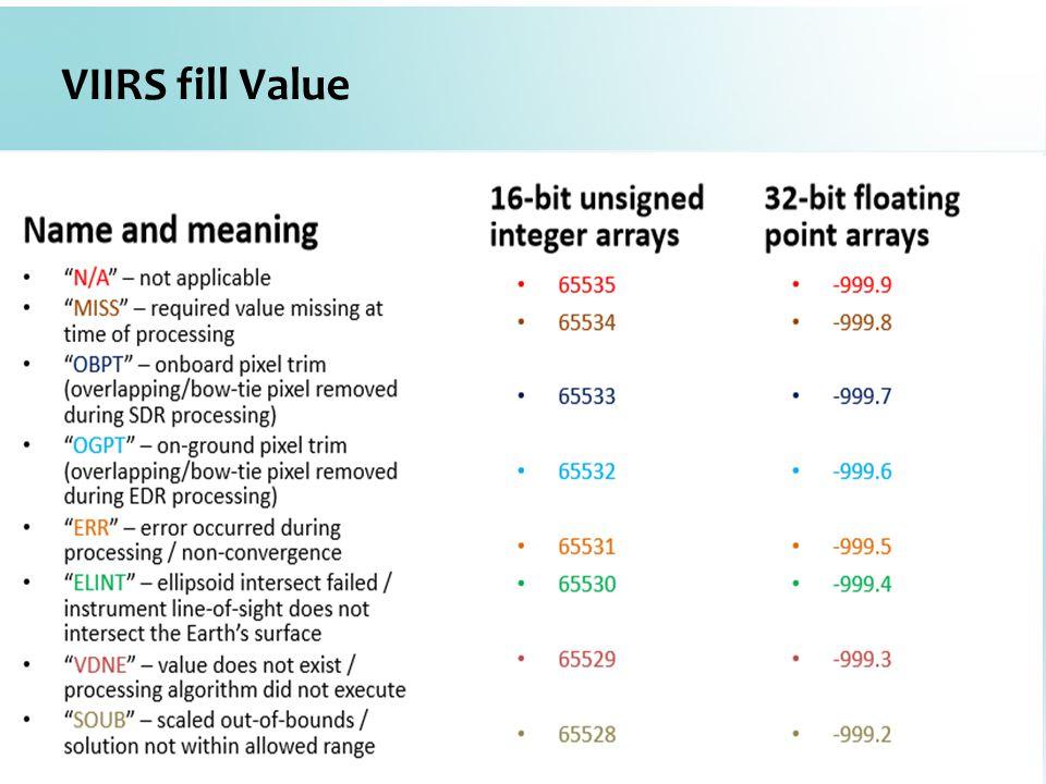 VIIRS fill Value