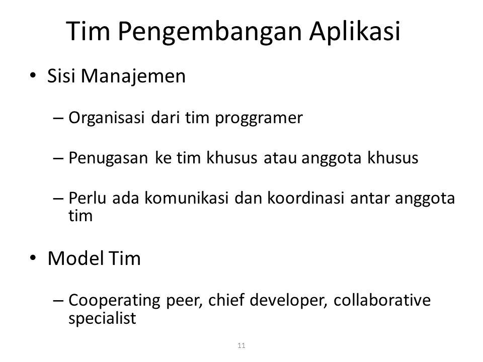 11 Tim Pengembangan Aplikasi Sisi Manajemen – Organisasi dari tim proggramer – Penugasan ke tim khusus atau anggota khusus – Perlu ada komunikasi dan