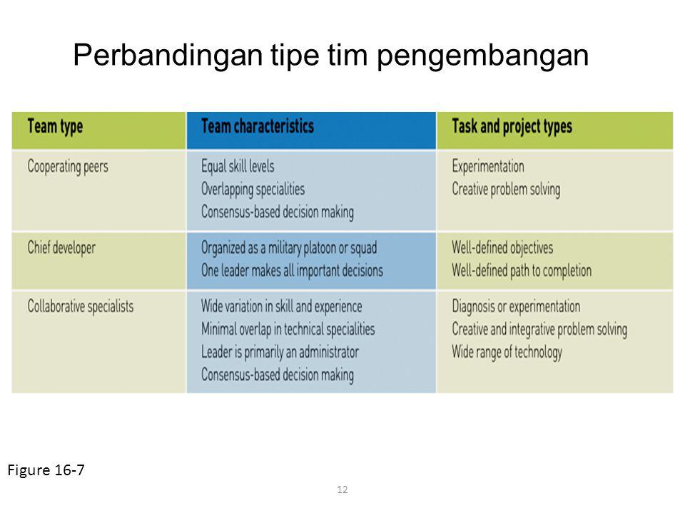 12 Perbandingan tipe tim pengembangan Figure 16-7