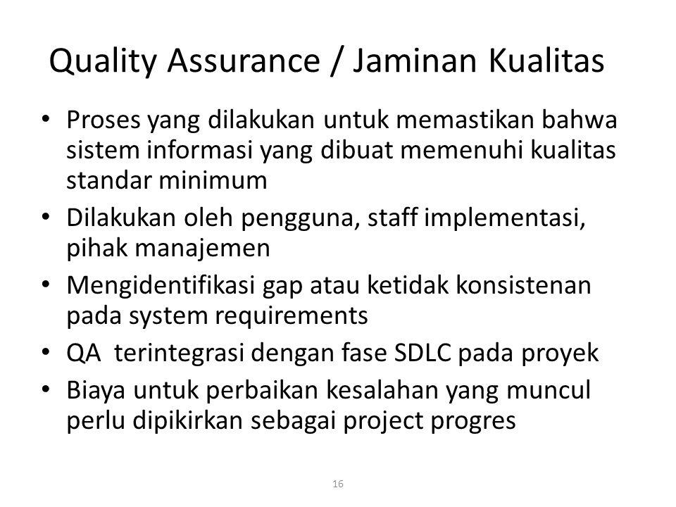 16 Quality Assurance / Jaminan Kualitas Proses yang dilakukan untuk memastikan bahwa sistem informasi yang dibuat memenuhi kualitas standar minimum Di