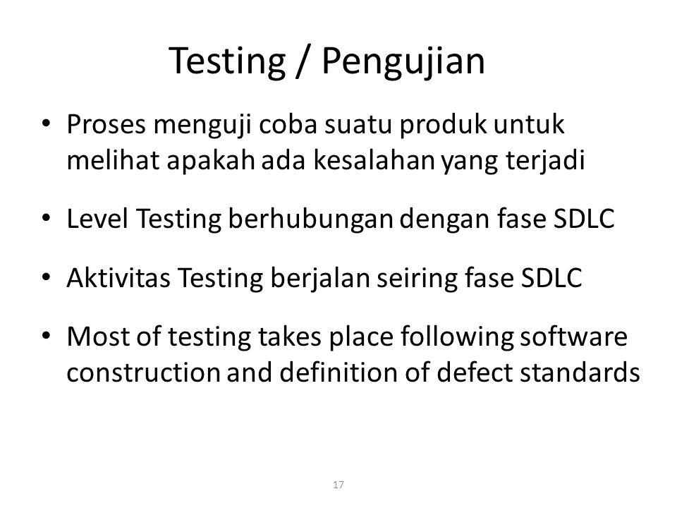17 Testing / Pengujian Proses menguji coba suatu produk untuk melihat apakah ada kesalahan yang terjadi Level Testing berhubungan dengan fase SDLC Aktivitas Testing berjalan seiring fase SDLC Most of testing takes place following software construction and definition of defect standards