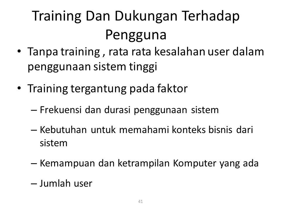 41 Training Dan Dukungan Terhadap Pengguna Tanpa training, rata rata kesalahan user dalam penggunaan sistem tinggi Training tergantung pada faktor – Frekuensi dan durasi penggunaan sistem – Kebutuhan untuk memahami konteks bisnis dari sistem – Kemampuan dan ketrampilan Komputer yang ada – Jumlah user