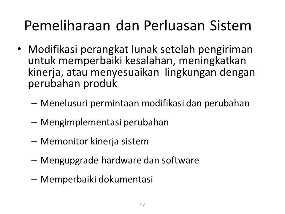 43 Pemeliharaan dan Perluasan Sistem Modifikasi perangkat lunak setelah pengiriman untuk memperbaiki kesalahan, meningkatkan kinerja, atau menyesuaika