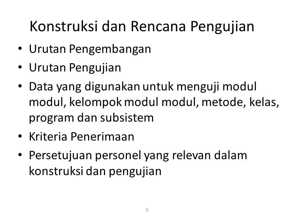 9 Konstruksi dan Rencana Pengujian Urutan Pengembangan Urutan Pengujian Data yang digunakan untuk menguji modul modul, kelompok modul modul, metode, k