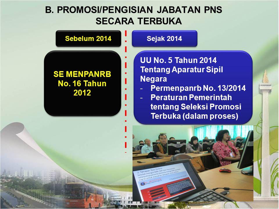 B. PROMOSI/PENGISIAN JABATAN PNS SECARA TERBUKA SE MENPANRB No. 16 Tahun 2012 SE MENPANRB No. 16 Tahun 2012 Sebelum 2014 Sejak 2014 UU No. 5 Tahun 201