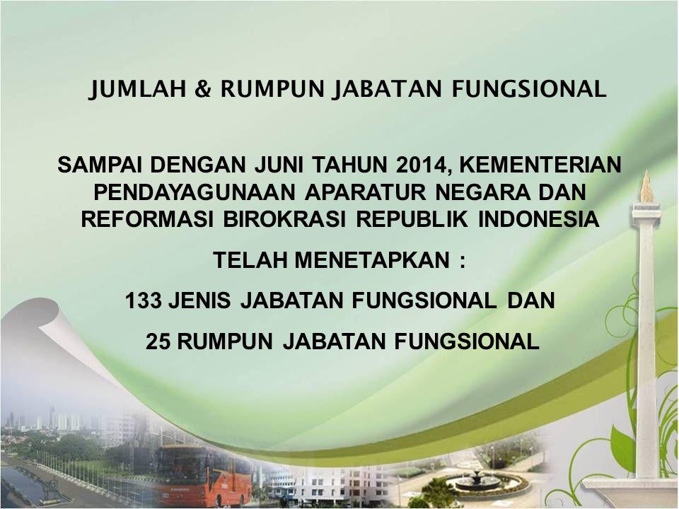 JUMLAH & RUMPUN JABATAN FUNGSIONAL SAMPAI DENGAN JUNI TAHUN 2014, KEMENTERIAN PENDAYAGUNAAN APARATUR NEGARA DAN REFORMASI BIROKRASI REPUBLIK INDONESIA
