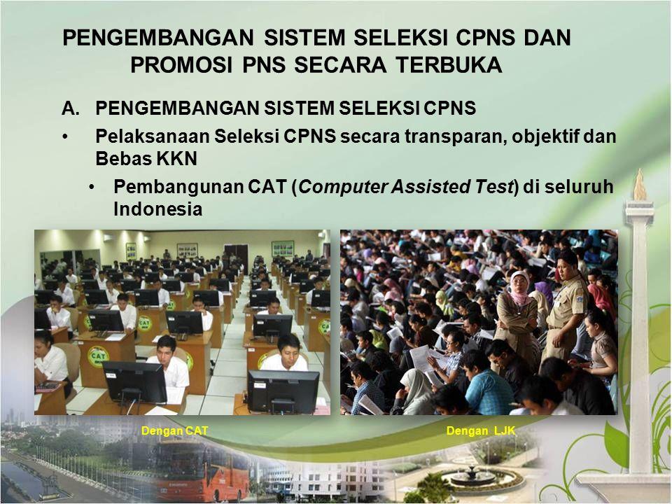 A.PENGEMBANGAN SISTEM SELEKSI CPNS Pelaksanaan Seleksi CPNS secara transparan, objektif dan Bebas KKN Pembangunan CAT (Computer Assisted Test) di selu