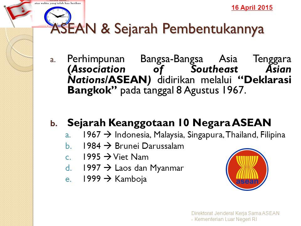 16 April 2015 ASEAN & Sejarah Pembentukannya a. Perhimpunan Bangsa-Bangsa Asia Tenggara (Association of Southeast Asian Nations/ASEAN) didirikan melal
