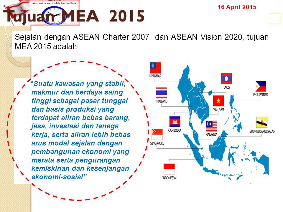 16 April 2015 Tujuan MEA 2015 17 Suatu kawasan yang stabil, makmur dan berdaya saing tinggi sebagai pasar tunggal dan basis produksi yang terdapat aliran bebas barang, jasa, investasi dan tenaga kerja, serta aliran lebih bebas arus modal sejalan dengan pembangunan ekonomi yang merata serta pengurangan kemiskinan dan kesenjangan ekonomi-sosial Sejalan dengan ASEAN Charter 2007 dan ASEAN Vision 2020, tujuan MEA 2015 adalah